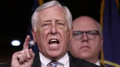 House Minority Whip Steny Hoyer speaks at a press conference