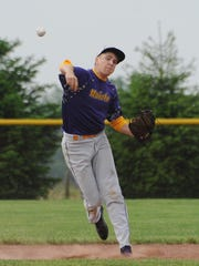 Unioto's Keyan Cottrell throws the ball to first base during Unioto's game against Chillicothe Thursday at Unioto High School.