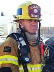 This undated photo provided by Cal Fire shows Fire Apparatus Engineer Cory Iverson. Iverson, who worked for the department's San Diego Unit as a member of a fire strike team, died while fighting the Thomas Fire north of Fillmore.