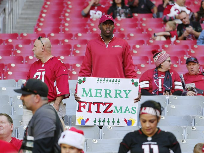 Arizona Cardinals fans watch warmups before a game