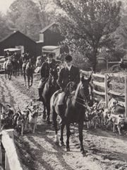 Traders Point Hunt Club members leaving the estate of George Bailey. Oct., 30, 1931