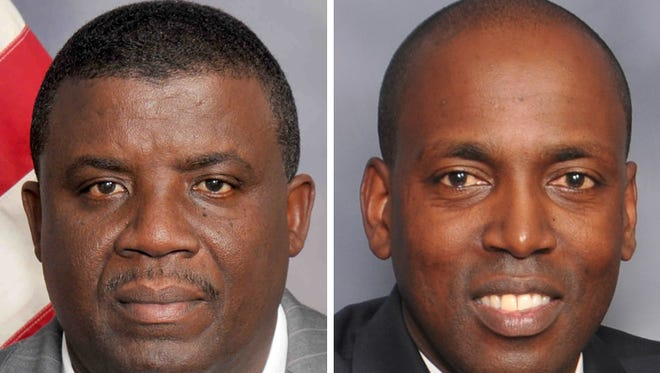 Spring Valley Village Trustee Vilair Fonvil (right) defeated challenger Chrispin Eugene on Tuesday in a Democratic primary, according to unofficial results.