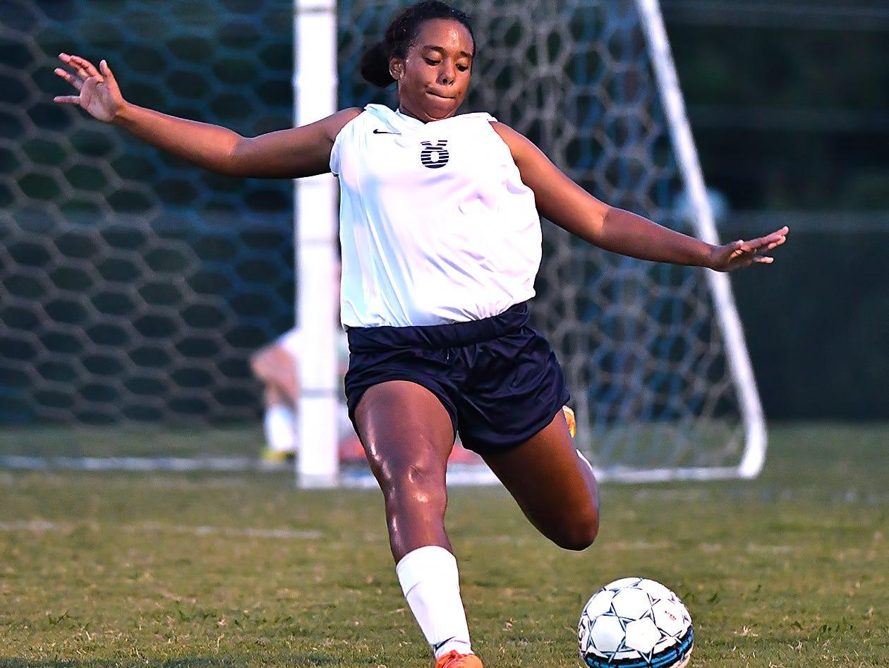 Dickson County's Amaya Johnson puts the ball back into play.