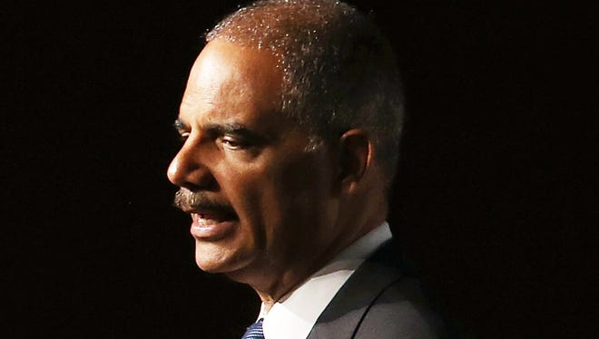 Attorney General Eric Holder speaks during the 2013 America Bar Association (ABA) annual meeting in San Francisco.