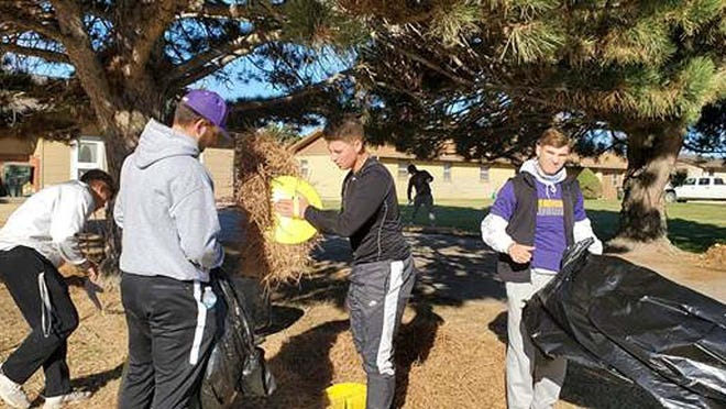 DCCC baseball players participated in the Fall Clean-Up Day on Nov. 15 in partnership with the RSVP organization. SUBMITTED PHOTO