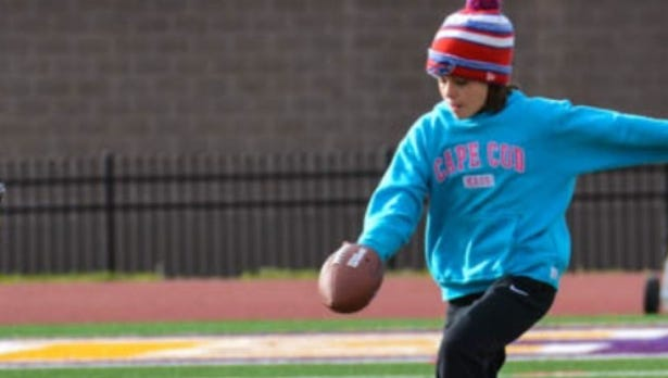 Isabella Pucci, shown punting during qualifying at East High, is one of 10 local kids who've earned a spot in the NFL's Punt, Pass and Kick regionals this weekend in Buffalo.