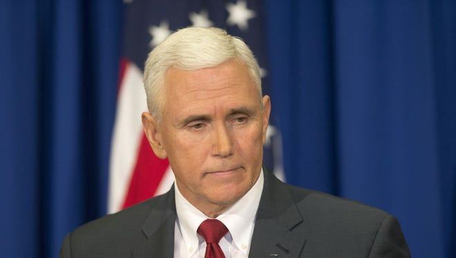Indiana Gov. Mike Pence addresses the media about changes he wants made to the recently signed Religious Freedom Restoration Act, Indianapolis, Tuesday, March 31, 2015.