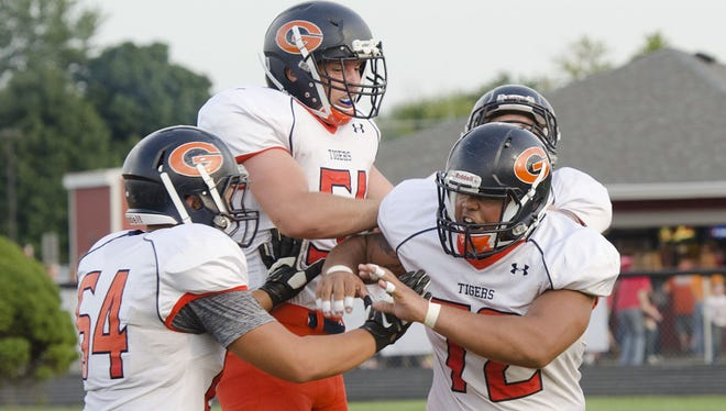 Galion celebrates a defensive play in Week 1.