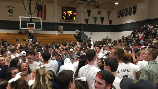 No. 4 seed Freehold Township played at No. 2 seed Colts Neck in the NJSIAA Central Group IV final on Monday, March 7, 2016.