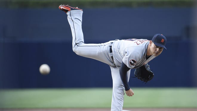 Tigers pitcher Anibal Sanchez throws during the first inning Saturday in San Diego.