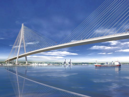 A rendering of the Gordie Howe International Bridge, a cable-stayed design with the longest main span in North America, at 853 meters (about 933 yards), and with towers rivaling the height of the Renaissance Center in Detroit. It was revealed in July 2018.