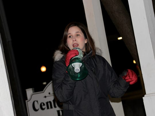 Laura Dodd of Milford Township speaks at the rally