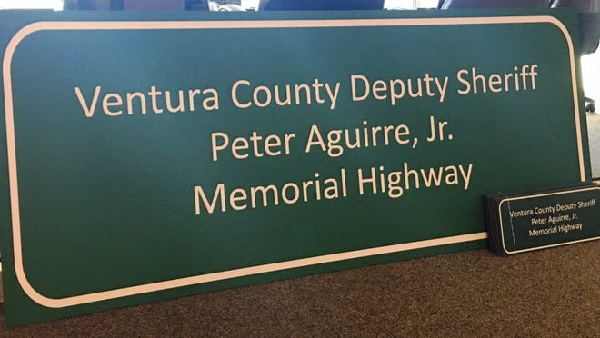 COURTESY OF VENTURA COUNTY SHERIFF'S OFFICE A replica of the highway sign.