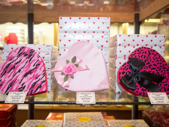 Heart shaped boxes, shown here at Olympia Candy Kitchen,