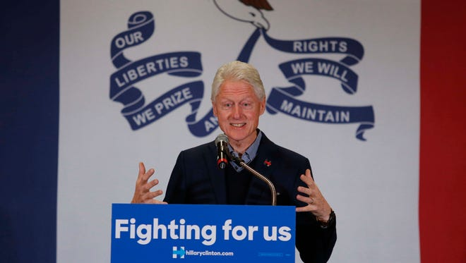 Former President Bill Clinton speaks to supporters at the Czech and Slovak Museum on Thursday, Jan. 7, 2016, in Cedar Rapids, Iowa.