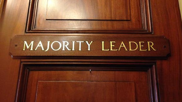Sign on Senate Majority Leader Mitch McConnell's office door.