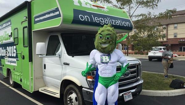 Buddie, the muscular, cape-wearing marijuana bud mascot of ResponsibleOhio