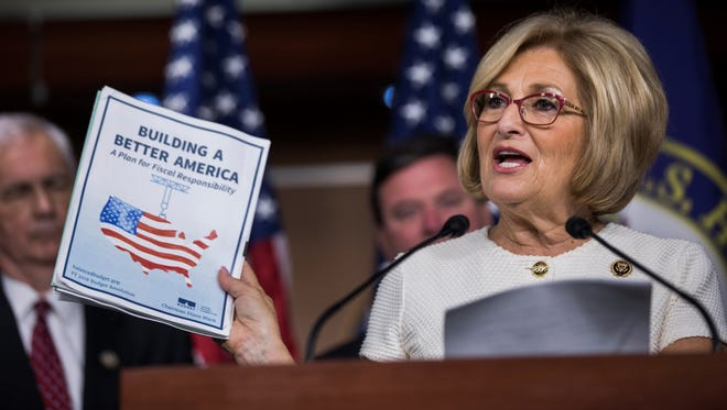 House Budget Chairwoman Diane Black, R-Tenn., speaks to the media about the Republicans' 2018 budget plan in the U.S. Capitol on July 18, 2017.