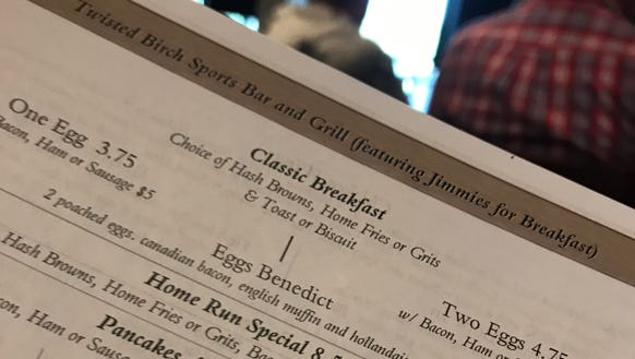 The breakfast menu at the new Twisted Birch Sports