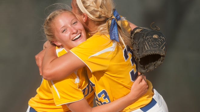 Buena's Sam Fiocchi, left, and Buena'sLauren Dwyer celebrate after Buena beat Sterling in Tuesdays South Jersey Group 2 semifinal softball playoff game played at Sterling High School. 05.26.15