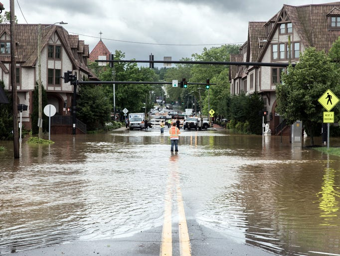 Biltmore Avenue in Asheville, N.C is completely flooded