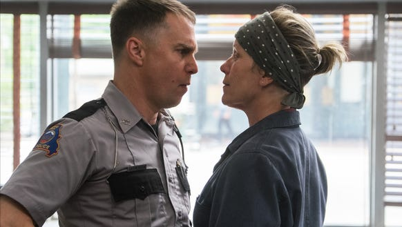 Sam Rockwell, left, and Frances McDormand in a scene