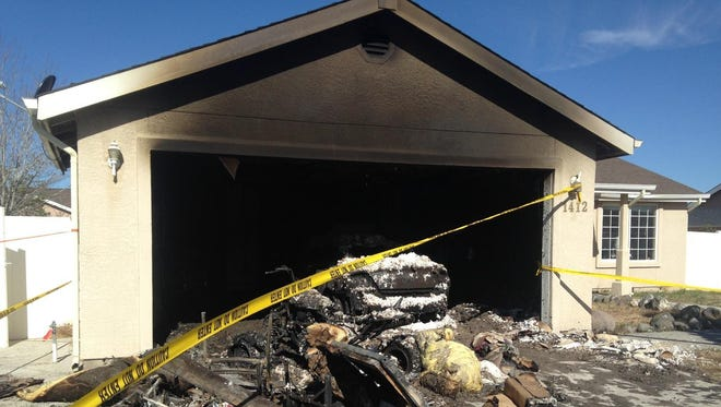 A fire Tuesday morning gutted the garage of a house on Red Bluffs Way in Fernley.