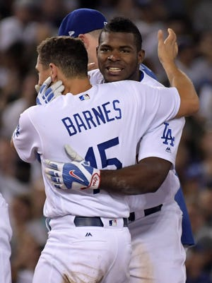 Yasiel Puig's two-run, walk-off double Wednesday night pushed his OPS to .803, his best mark in three years.