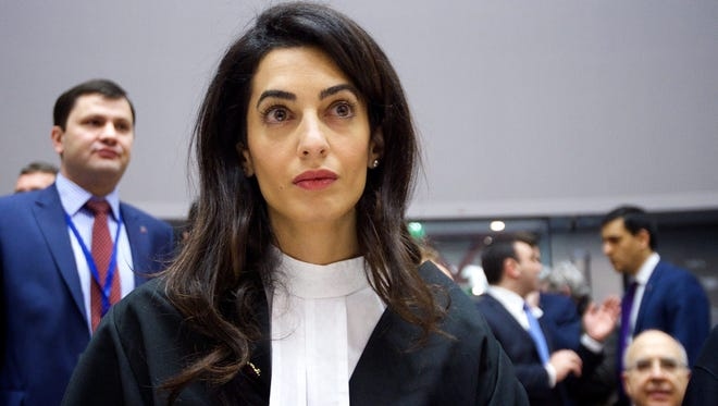 Amal Alamuddin Clooney at the European Court of Human Rights in Strasbourg, France, on Jan. 28, representing Armenia in a case involving denial of the Armenian genocide.