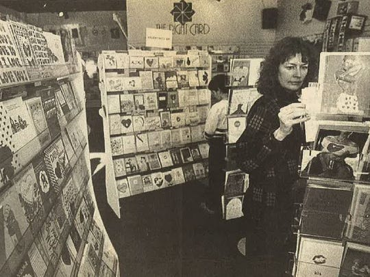 The Right Card opened as a greeting card shop in Old Town Square in 1985 and later expanded into its current 3,000-square-foot corner location. In this 1988 Coloradoan archive photo, a shopper peruses the shop's card selection for Valentine's Day.