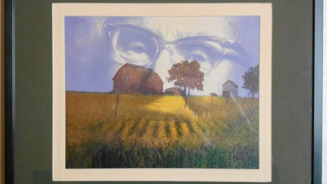 """""""Grandmother's Farm"""" is one of three pieces by three pieces of art by Thomas L. Farris in the Pendleton Artists Society's Fourth Annual Juried Show."""