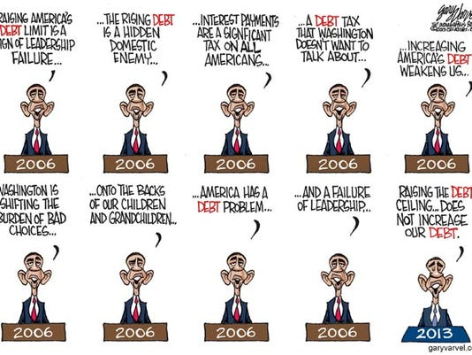 Cartoonist Gary Varvel Obamas Quotes On Raising Debt Then And Now