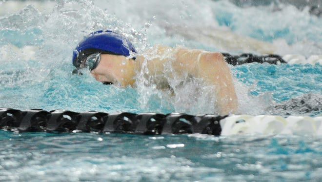 Brookfield's Michael Linnihan swims the 200 freestyle at the Greater 8 boys varsity conference swim meet Saturday, January 27, 2018, at Waukesha South High School.