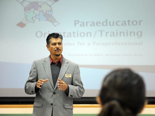 In this file photo, Héctor Rico speaks to para-educators attending a professional development session at Bardin Elementary School in Salinas.