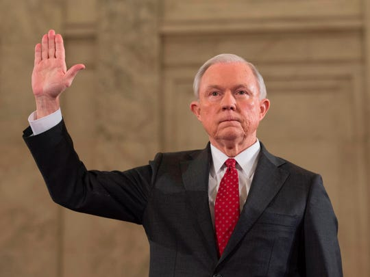 This Jan. 10, 2017, photo shows Sen. Jeff Sessions as he is sworn in before the Senate Judiciary Committee during his confirmation hearing.