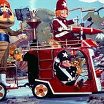"Cling and Clang drive the Rescue Racer with H.R. Pufnstuf riding in the back from the television series, ""H.R. Pufnstuf."" The title character of the 1969-71 children's series will appear on an episode of Nickelodeon's new preschool series ""Mutt & Stuff."""