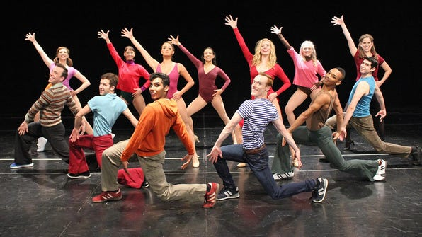 """Cast members of """"A Chorus Line"""" include, fron left,"""
