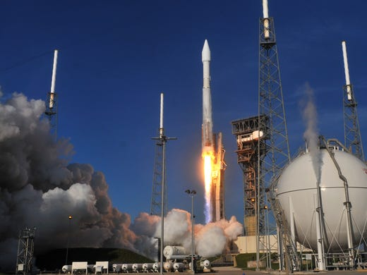 A United Launch Alliance Atlas V missile take off