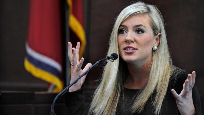 Lauren Miller testifies during the Vanderbilt rape trial Wednesday in Nashville.