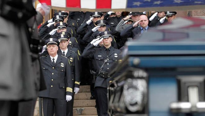 The service for Johnson City Officer David Smith, who was killed in the line of duty, was held April 4, 2014, at Sarah Jane Johnson Church in Johnson City.