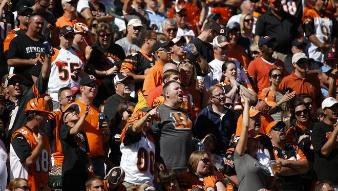 Cincinnati Bengals fans cheer their team against the Tennessee Titans at Paul Brown Stadium on Sept. 21.
