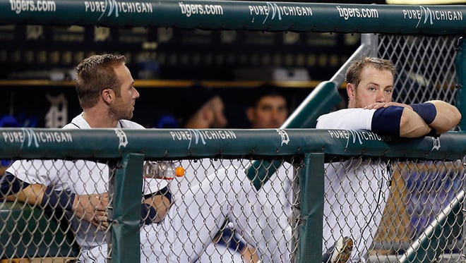 Tigers shortstop Andrew Romine and catcher Bryan Holaday.