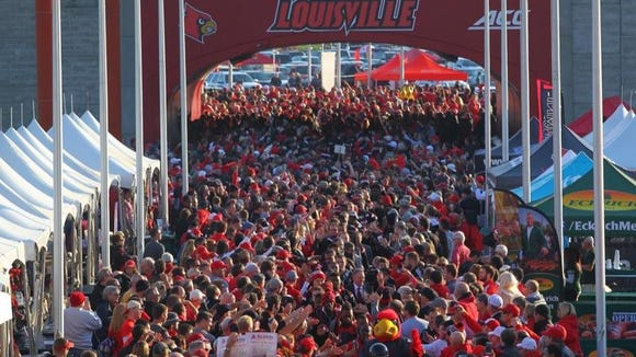 Cards fans packed the pregame Card March at Papa John's
