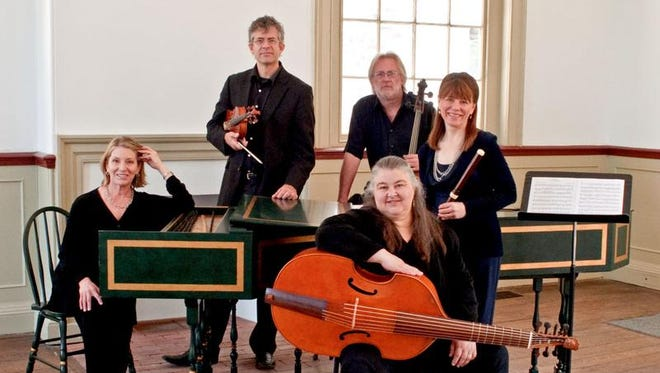 Tracy Richardson (harpsichord), Christof Richter (violin), Donna Fournier (viola da gamba), Douglas McNames (cello) and Kimberly Reighley (flute) of Mélomanie.
