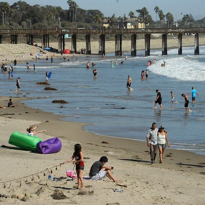 People spend the day at Ventura beach, just north of