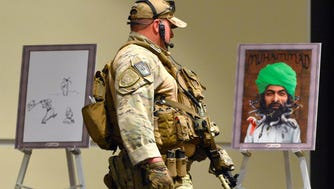 Heavily armed police at the Muhammad Art Exhibit and Contest at the Curtis Culwell Center in Garland, Texas, May 3, 2015.