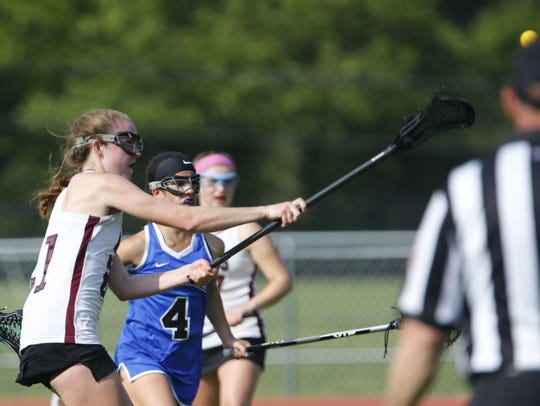 Megan Murray (21) of Red Bank scores her 200th goal