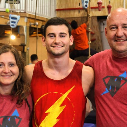 """Drew Knapp of Suamico, center, returns to competition on """"American Ninja Warrior"""" with Monday's episode from the Indianapolis finals."""