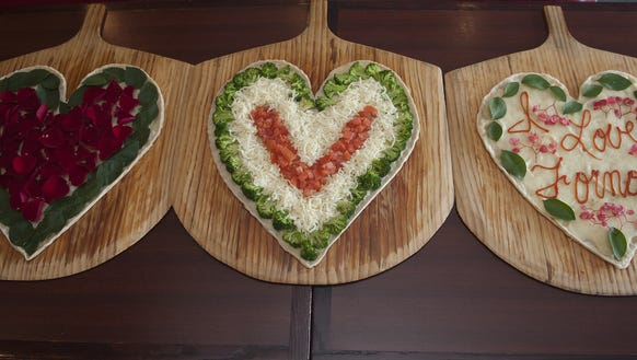 Heart-shaped pizzas were a big draw on Valentine's Day at Forno in Maple Shade.