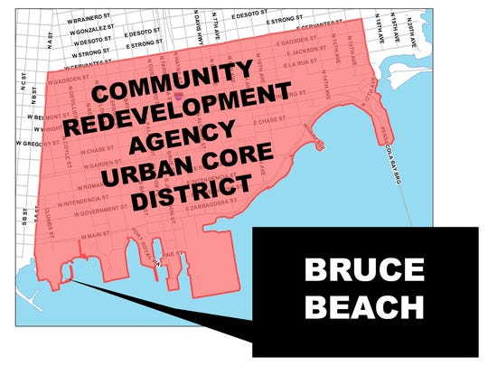 Bruce Beach falls within the Community Redevelopment Agency's Urban Core District.